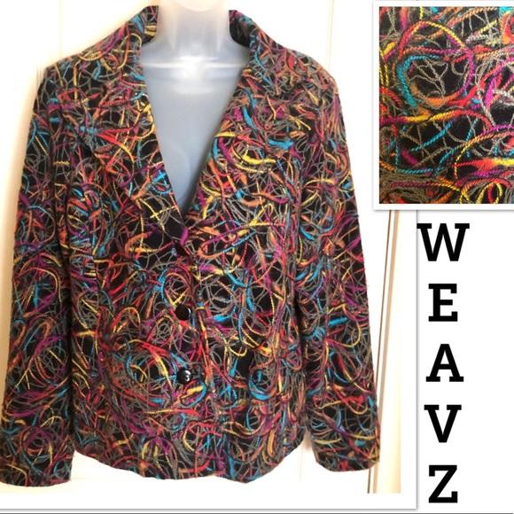 Weavz Jackets & Blazers - WEAVZ Black Blazer w Multi Colored Wool/Cotton XL